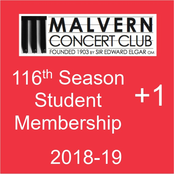 Student Membership of Malvern Concert Club plus one ticket for the Sunday afternoon concert
