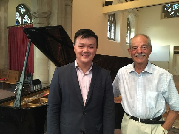 Pianist Edward Leung with Malvern Concert Club Vice President Edward Brand at the AGM July 2018