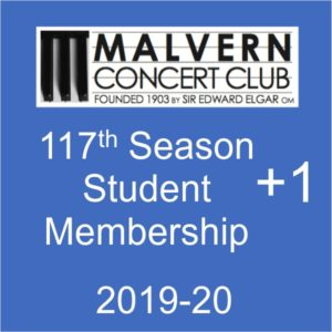 Student membership of Malvern Concert club for 2019-20 plus ticket for Feb concert